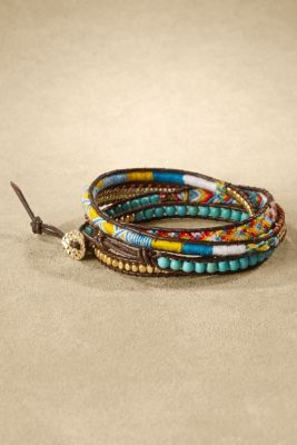 Twist & Tie Wrap Bracelet - Turquoise Wrap Bracelet, Leather Wrap Bracelet | Soft Surroundings