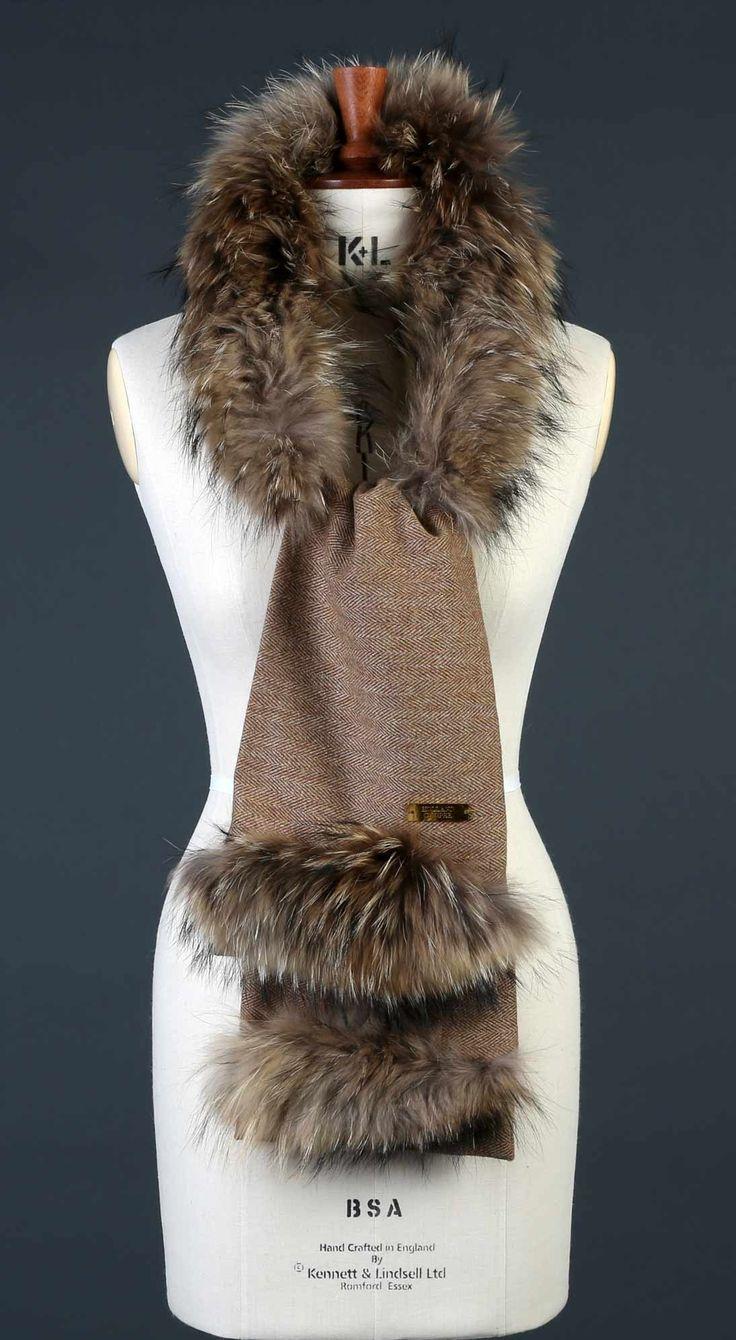 Holland Cooper tweed fur scarf raccoon fur trim brown herringbone handmade