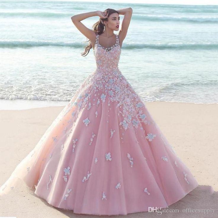 2017 Saudi Arabic Pink Wedding Dresses With Flowers Princess Puffy Scoop Ball Gown Tulle Bridal Gowns
