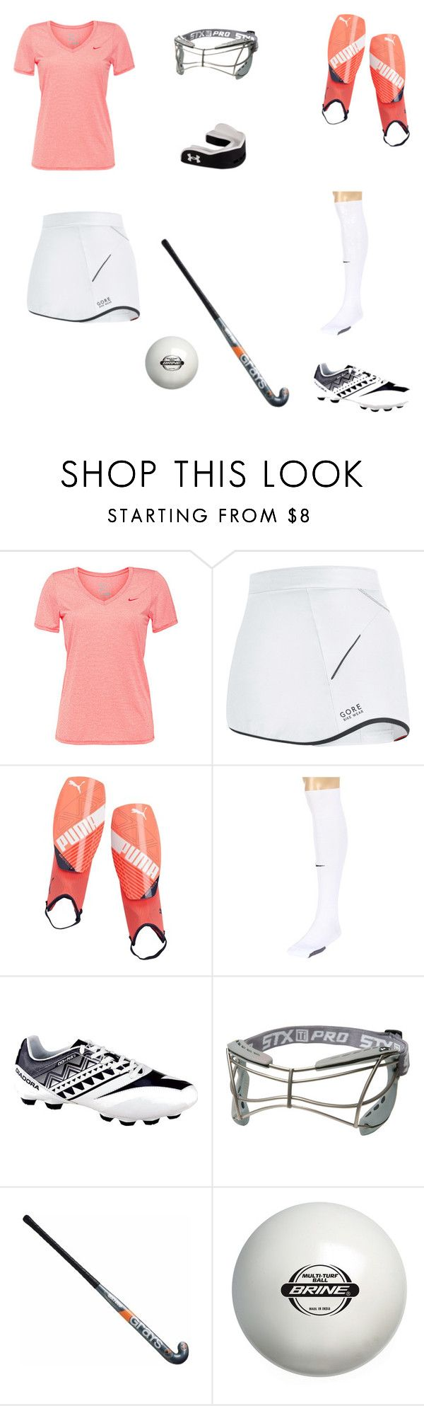 """Field hockey outfit"" by kjholmes1142 ❤ liked on Polyvore featuring NIKE, Gore Bike Wear, Puma, Diadora, women's clothing, women, female, woman, misses and juniors"