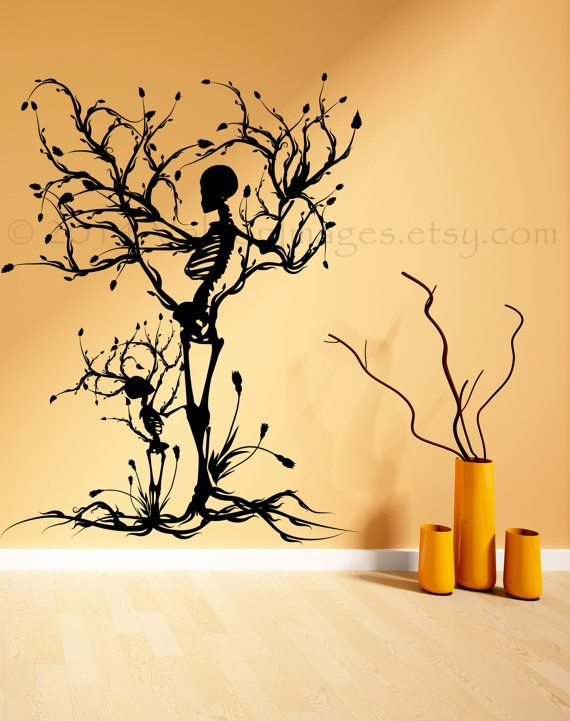 Decorate your living space for the upcoming spooky holiday with this  Halloween tree of life vinyl wall decal. +++++The photo listed above shows  this