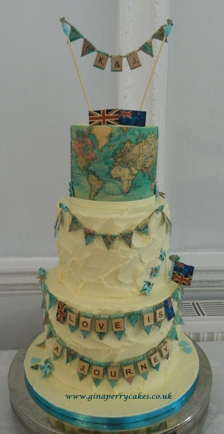 Vintage map themed wedding cake for a well travelled couple