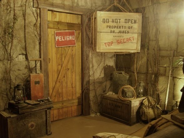 """Indiana Jones Room, This room is a tribute to the greatest adventurer of all time Indiana Jones. The room was made to look like a long abandoned South American dig site. Indys """"top secret"""" create holds a flat screen T.V. and treasure from past adventures. , Patios & Decks Design"""
