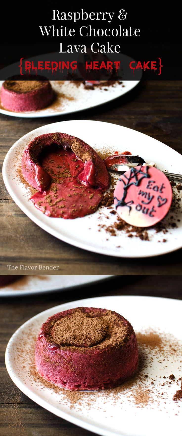 Raspberry White Chocolate Lava Cake {The Bleeding Heart Cake} - A delightfully decadent cake that is deliciously grotesque for Halloween or disturbingly romantic for valentines! The perfect dessert for the overly attached girlfriend!