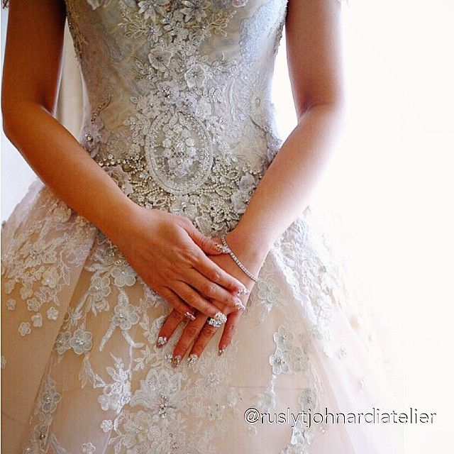 """""""I do...and I love you till the end of time..."""" Photo taken by @ruslytjohnardiatelier on Instagram #details #weddinggown #weddingdress #ballgown #lace #details #bespoke #hautecouture #thebride #ruslytjohnardi #ruslytjohnardiatelier"""