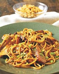 From Food & Wine.  Spaghetti & chicken with Thai peanut sauce.  Made this last night -- AWESOME.  Used leftover roasted chicken and warmed it through in the marinade.  Tripled the red chili flakes, doubled the lime juice, and added thai fish sauce to the sauce.  Make sure to reserve some of the pasta cooking water in case you need to thin the sauce, and for reheating.  YUM.