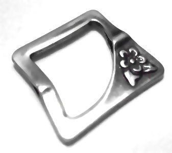 Sterling Silver Free Form Rectangle with Flowers by bijoullery, $8.99  PRECIOUS metal!: Freeform, Metal Inspirations, Form Frame, Flower