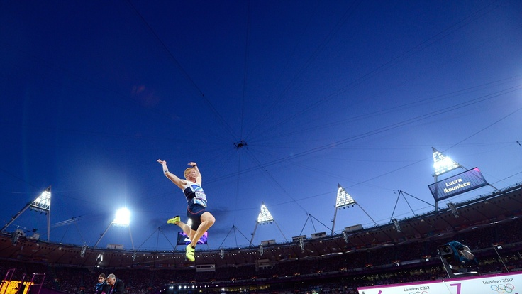 Greg Rutherford of Great Britain on his way to winning the gold medal.  (4-8-2012)