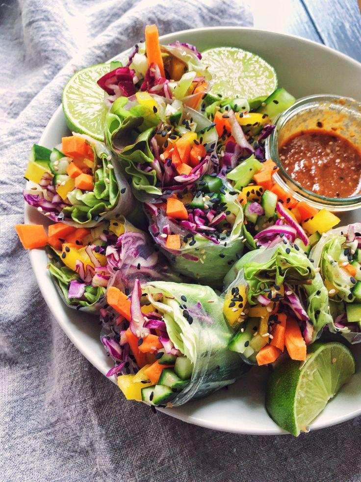 Rainbow Spring Rolls with spicy peanut sauce - vegan and gluten-free