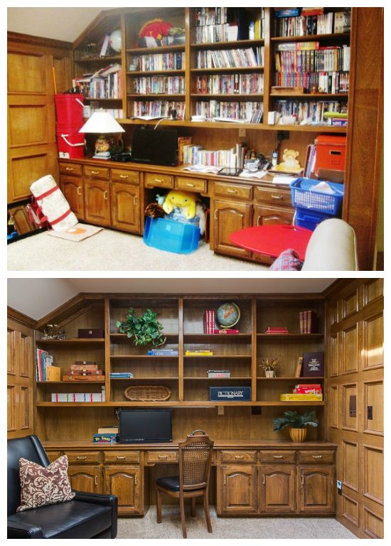 Before And After Built In Bookshelf Staging, Staging For Bookshelves,  Dallas Tx Home Staging