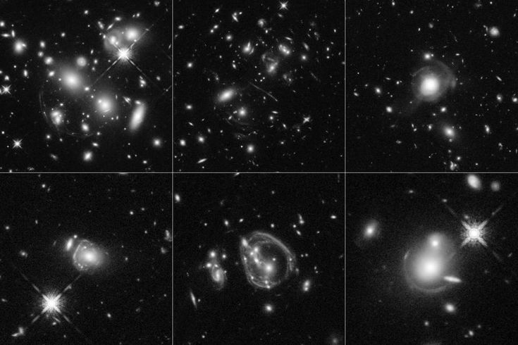 These six Hubble Space Telescope images reveal a jumble of misshapen-looking galaxies punctuated by exotic patterns such as arcs, streaks, and smeared rings. These unusual features are the stretched shapes of the universe's brightest infrared galaxies that are boosted by natural cosmic magnifying lenses. Some of the oddball shapes also may have been produced by spectacular collisions between distant, massive galaxies. The faraway galaxies are as much as 10,000 times more luminous than our…