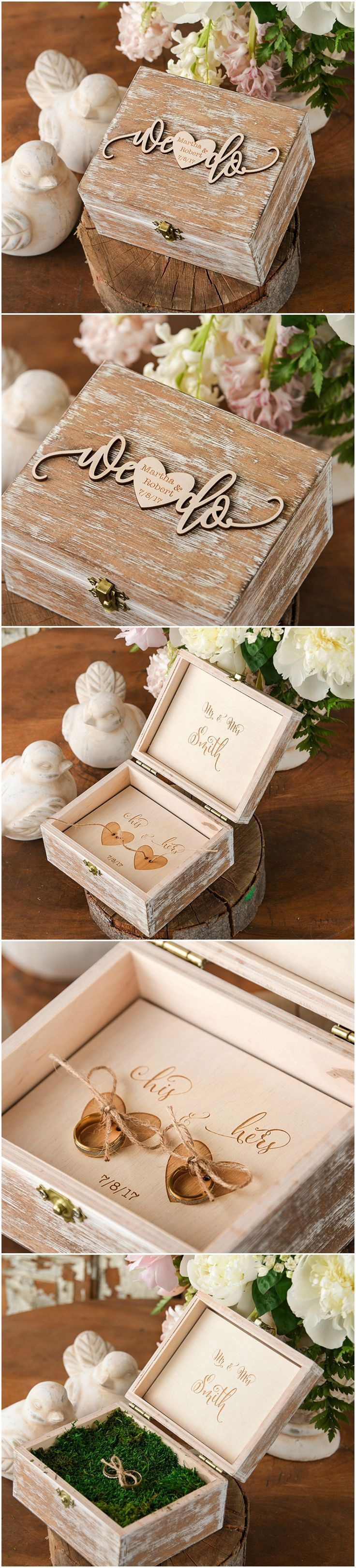 Wooden Ring Bearer Box - We Do #countrywedding #rusticwedding #dpf