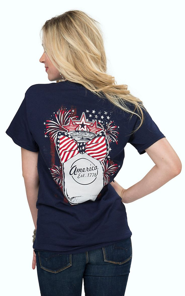 Girlie Girl Originals Women's Navy with American Mason Jar and Bow Short Sleeve Tee   Cavender's
