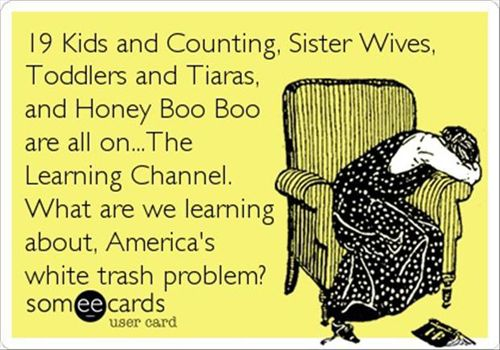 19 Kids and Counting, Sister Wives, Toddlers and Tiaras, and Honey Boo Boo are all on ...The Learning Channel. What are we learning about, America's white trash problem?