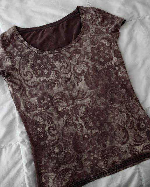 DIY Lace Bleach Shirt- flatten tee & insert cardboard inside. Lay lace over it and mist with spray bottle of bleach. When pattern shows, plunge tee into cold water/vinegar mixture to stop the bleaching process. Wash, then wear!