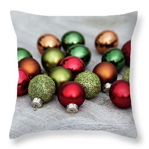 Throw Pillow featuring the photograph Festive Balls by Evgeniya Lystsova. Christmas Decorations on Wooden Table in Daylight, Winter Holiday Concept. More Christmas Styles for your Home Holiday Decor you can find in my gallery. Our Throw Pillows are made from 100% spun polyester poplin fabric and add a stylish statement to any room. Each Pillow is printed on both sides. #ThrowPillow #Christmas  #HomeDecor #Ornaments #Gifts #GiftIdea