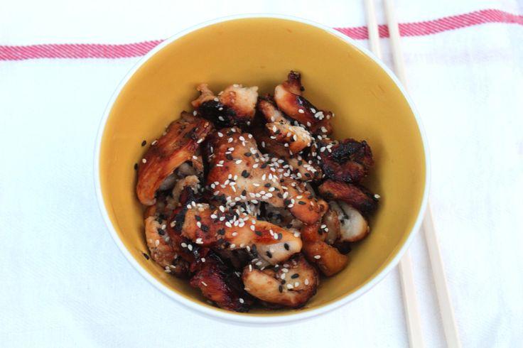 émincé de poulet mariné au soja honey soy marinated chicken