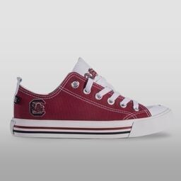 South Carolina Gamecock Sneakers $59.99 -  Featuring the University of South Carolina logo and colors, our shoes are made with high quality canvas, breathable vent holes, comfy foam pad insole, and awesome custom designed SKICKS bottoms. - Miss Cocky
