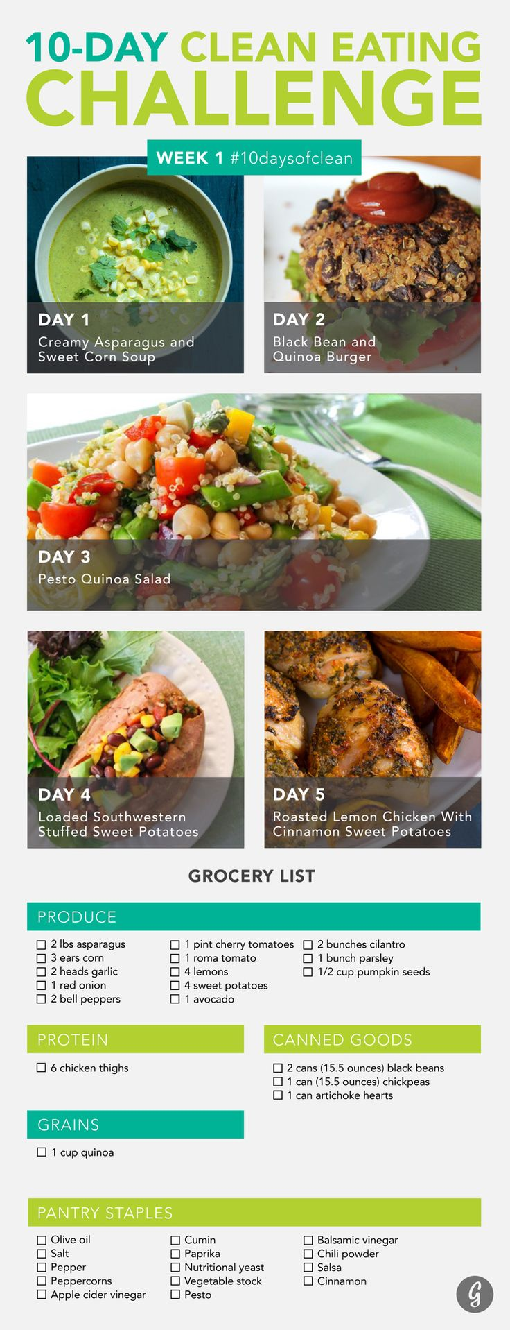 Clean Eating Challenge Week 1 #10daysofclean #healthy #recipes http://greatist.com/discover/clean-eating-challenge-week-one