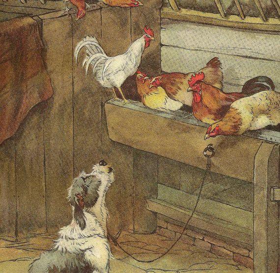 A Serenade Sheep Dog and Chickens  Original by TheOldBarnDoor