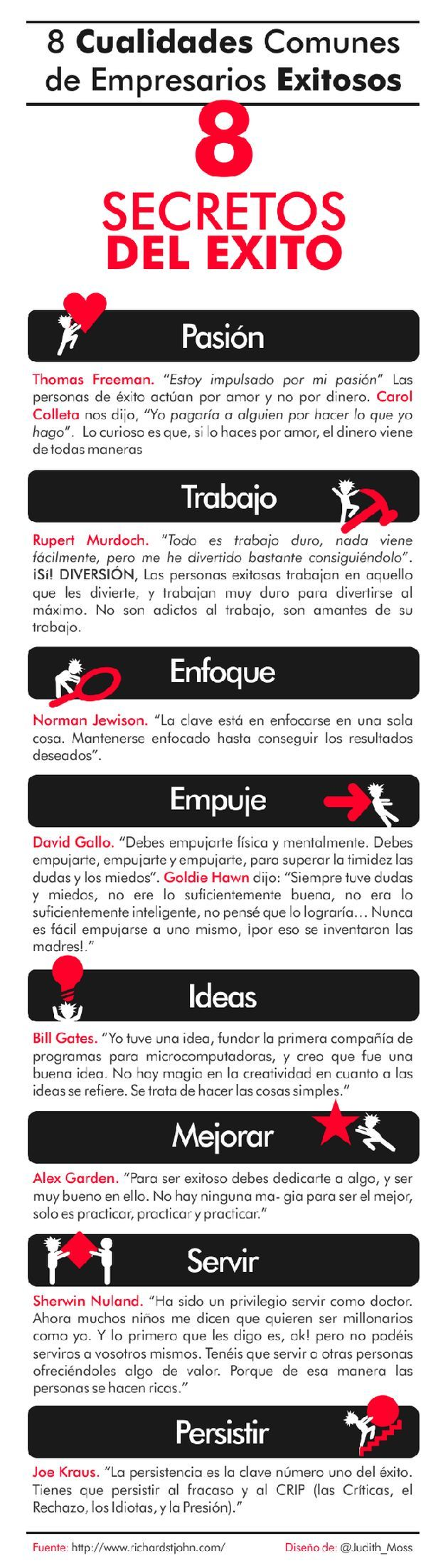 Una infografía en español con ocho cualidades comunes en emprendedores de éxito.