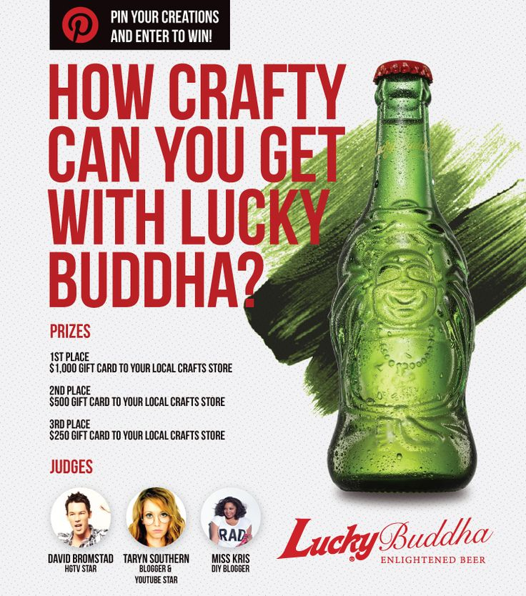 Check out Lucky Buddha Beer Crafts Pin to Win Board: http://www.pinterest.com/luckybuddhabeer/lucky-buddha-beer-crafts-pin-to-win-contest/ and click the image above to enter your own craft!