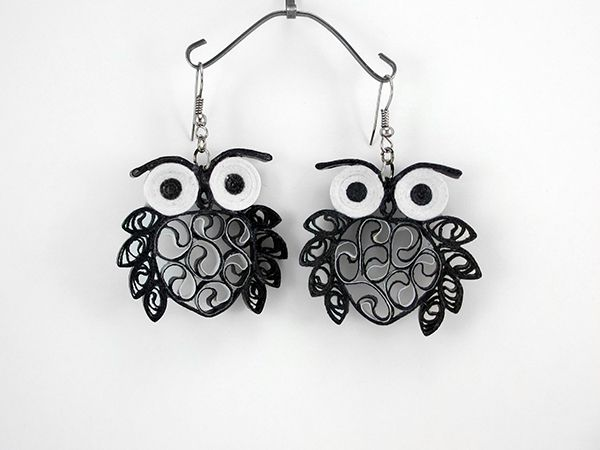 quilled owl ear rings, okay, but for myself, omit eyes, and do a few more leaves, making filigree earrings.