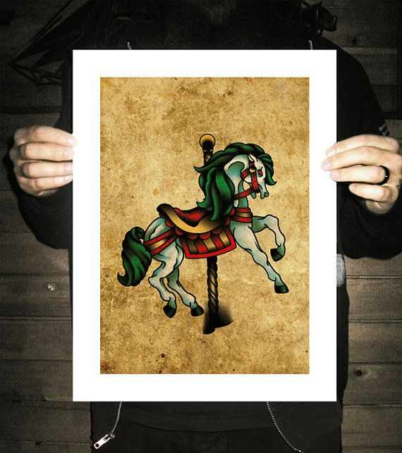 Carousel Horse MerryGoRound NeoTraditional Tattoo by BlackMast, $35.00