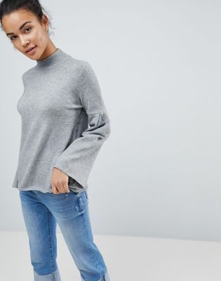 Fashion Union High Neck Jumper With Bell Sleeves