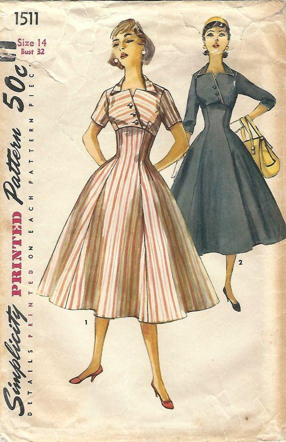 1950-х простота 1511 Винтажная Швейная скучает по Принцесса платье день платье Размер 14 Бюст 32