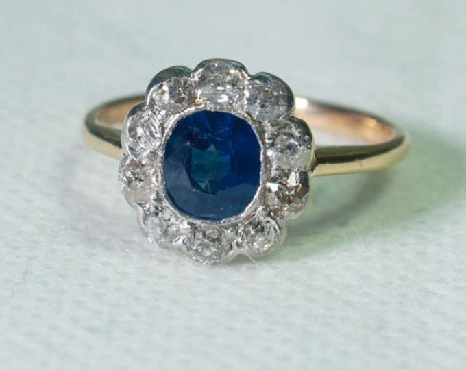 Lauren Stunning Sapphire & Diamond Vintage Engagement Ring