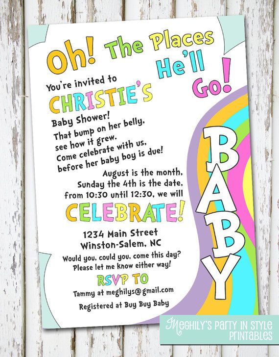 Oh The Places You'll Go  baby shower invitation by Meghilys, $10.00