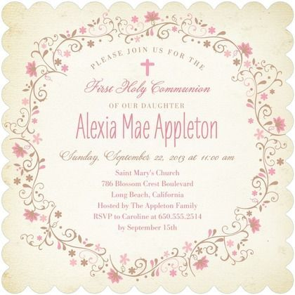Catholic First Communion Invitation Wording Communion Pinterest - invitation quotes for freshers party