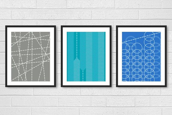 Dining Room Art Prints Poster Set of 3 - Modern Living Room Wall Decor - Industrial Geometric Patterns - Blue Aqua Gray 8x10 or 11x14
