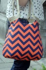 Oranje/Blauwe chevron schoudertas | Tassen/Bags | Made by Nanna