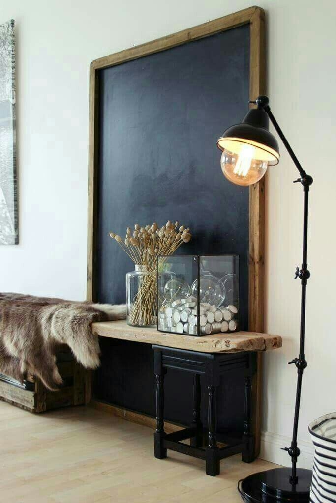 love the giant chalkboard - rustic and industrial
