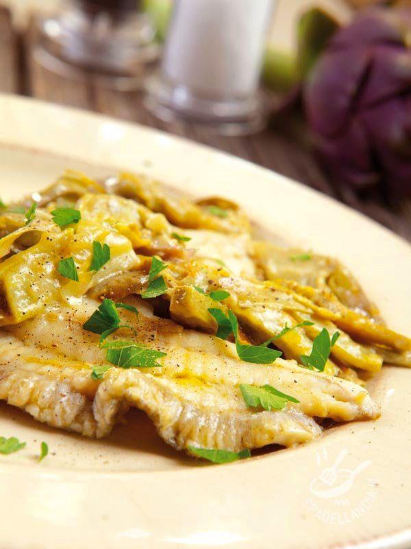 Fillet of turbot with artichokes - Facile e saporita, la ricetta dei Filetti di rombo ai carciofi è davvero un ottimo secondo a base di pesce e verdure. Buonissimo e salutare! #romboaicarciofi