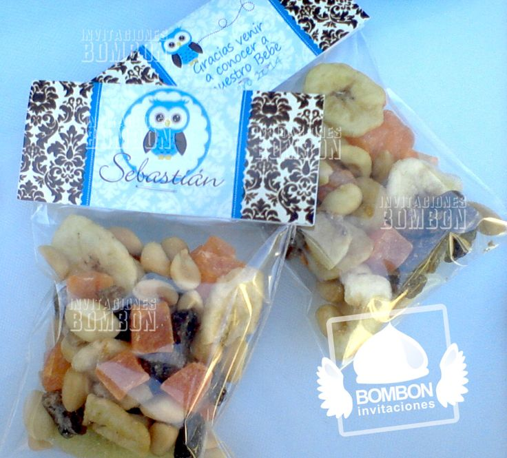 #Owl #buho #Party #Damask #Blue #brown #shower #baby #topper #favor #bag #nuts #Invitaciones #Bombon #InvitacionesBOMBON