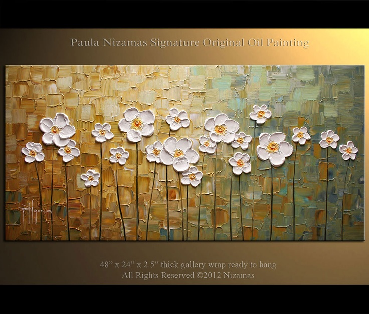 ORIGINAL Large White Flowers Oil Painting Abstract Contemporary daisy field…
