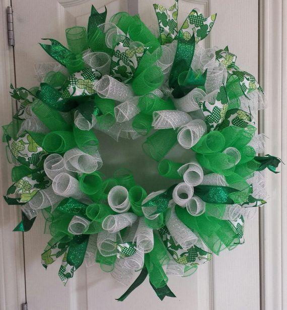 St. Patricks Day Deco Mesh Wreath by DoorDazzlerz on Etsy, $70.00
