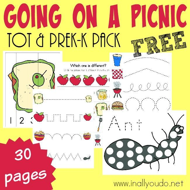 Little ones will have fun learning about picnics with these SUPER CUTE Picnic Tot & PreK-K pack activities! 30 total pages :: inallyoudo.net
