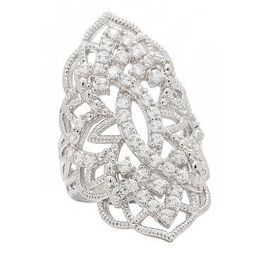 Eva LaRue Sterling Silver White Zircon Fancy Ring