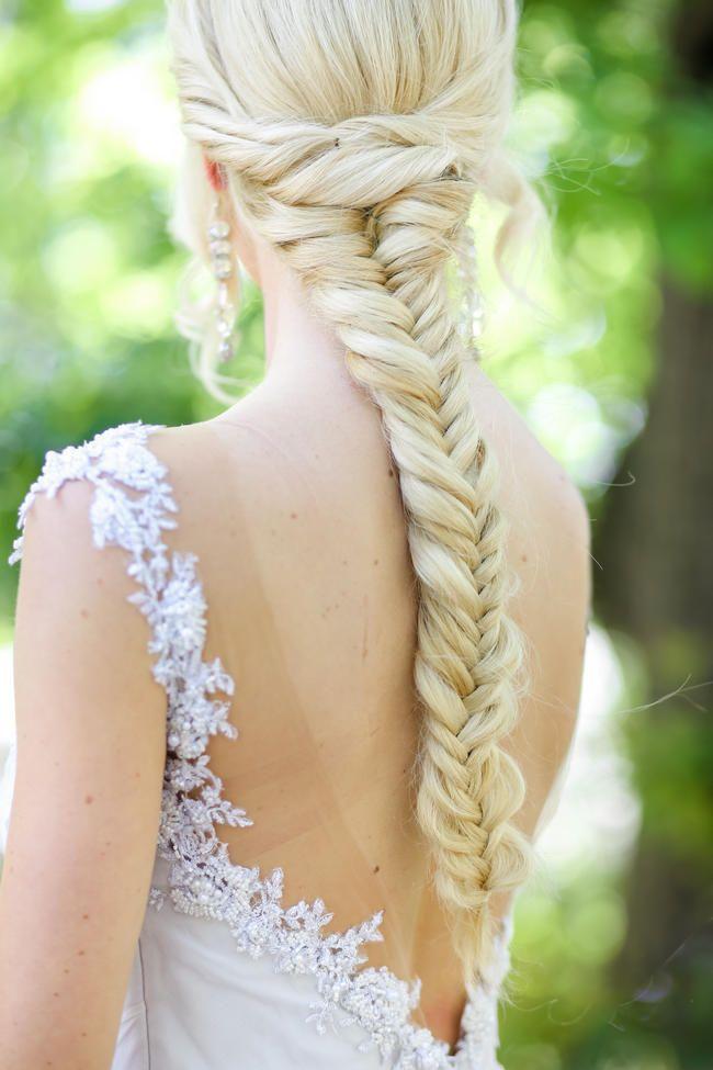 Brides stunning fishtail braid for long hair // Nikki Meyer photography