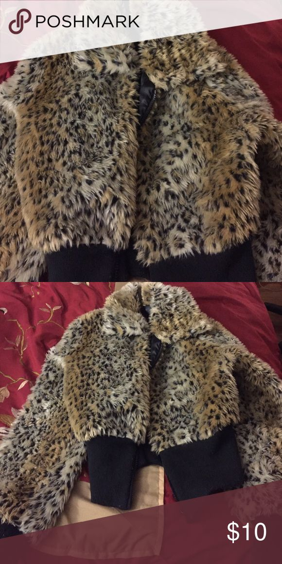 Leopard print bomber jacket Leopard print bomber jacket. Gently used Jackets & Coats