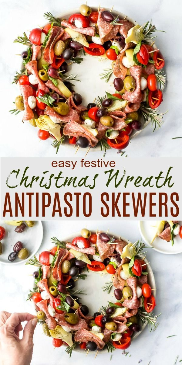 Easy Festive Christmas Wreath Antipasto Skewers are a beautiful centerpiece for …