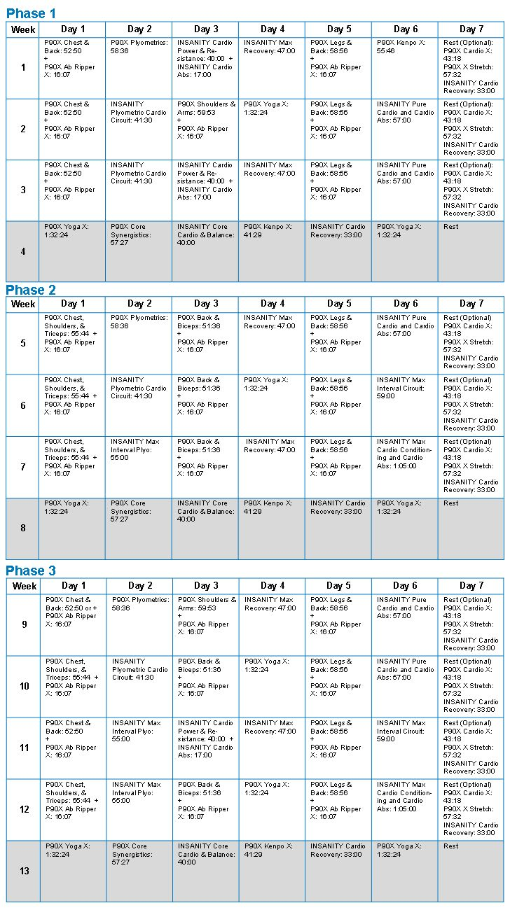 Workout Calendar Ideas : Best ideas about insanity workout schedule on