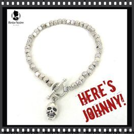'Here's Johnny' Skull Toggle Bracelet   Silver/Pewter-tone nugget shaped beaded bracelet with skull charm. Toggle closure. 100% nickel-free. $20.00.