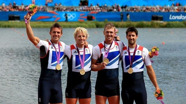Pete Reed, Andrew Triggs Hodge, Alex Gregory and Tom James celebrate winning gold
