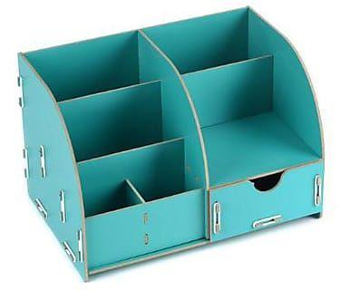 Органайзер для канцелярии - МДФ - бирюзовый, 28,5х19,5х16,5 см