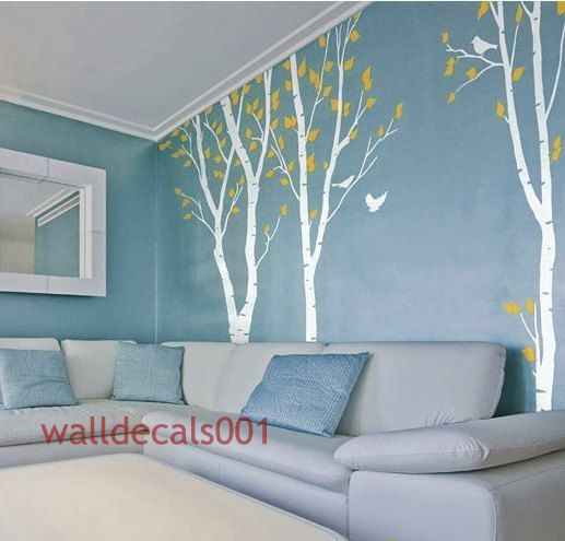 wall decal Birds in Birch Forest Set of 3 100in by walldecals001, $86.00